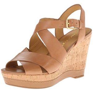 NWB Franco Sarto Shiver Platform Sandal Wedges Tan